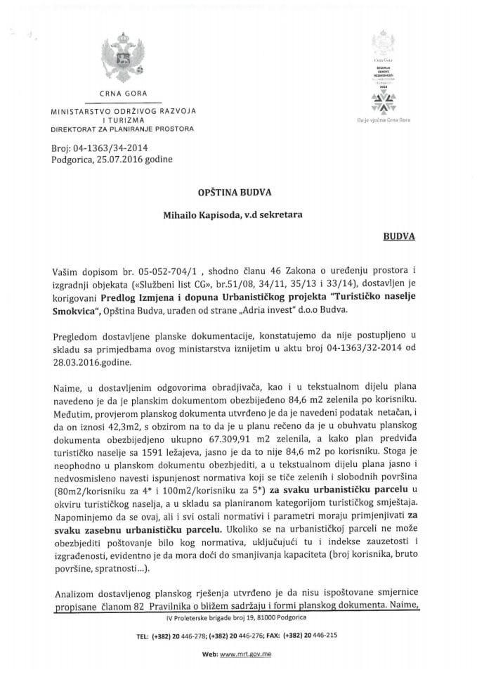 04-1363_34-2016 korigovani Predlog Izmjena i dopuna UP Turisticko naselje Smokvica Budva