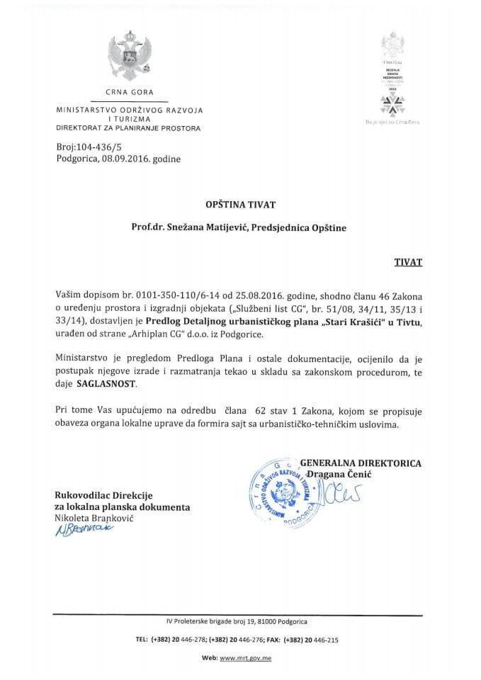 Saglasnost na Predlog Detaljnog urbanistickog plana Stari Krasici, Tivat