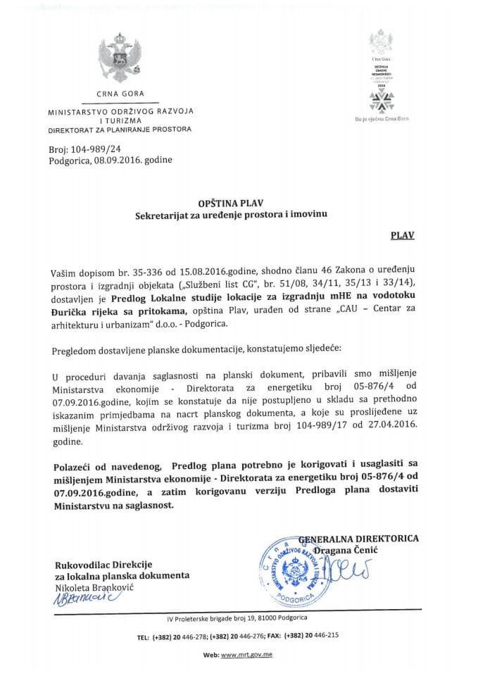 104-989_24 Predlog LSL za izgradnju mHE na vodotoku Đurička rijeka, Plav