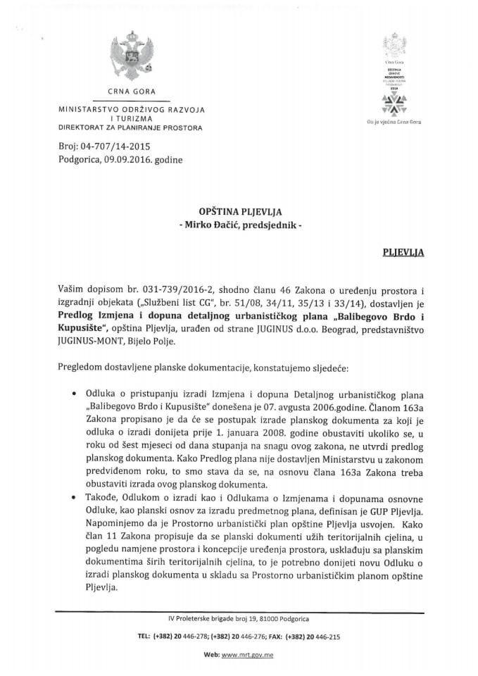 04-707_14-2015 Predlog IID DUP-a Balibegovo Brdo i Kupusiste opstina Pljevlja