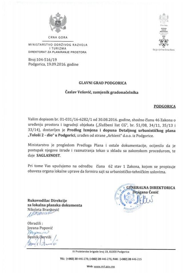 104-516_19 Saglasnost na Predlog IID DUP-aTolosi 2-dio, Podgorica