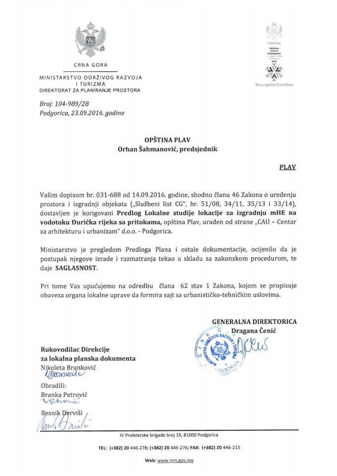 104-989_28 Saglasnost na Predlog LSL za izgradnju mhe na vodotoku Djuricka rijeka sa pritokama