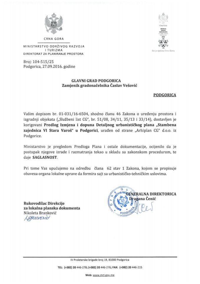 104-515_25 Saglasnost na Predlog IID DUP-a Stambena zajednica VI Stara Varos