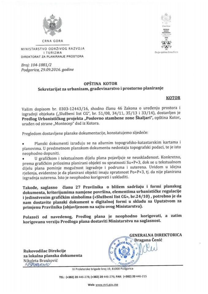 104-1881_2 Predlog UP Poslovno stambene zone Skaljari, Kotor