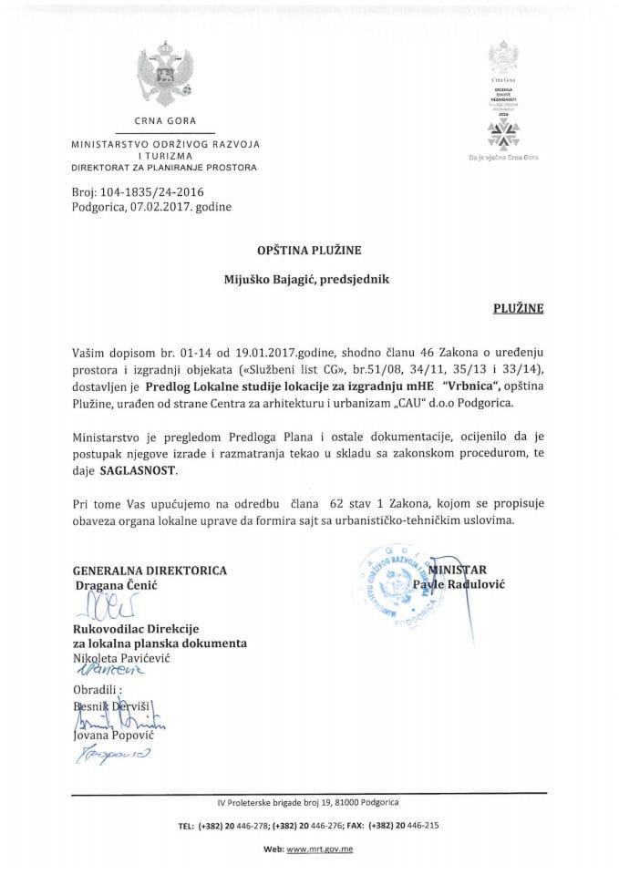 104_1835_24_2016 Saglasnost na Predlog LSL mHE Vrbnica opština Plužine