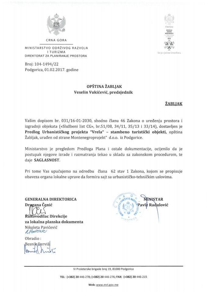 104_1494_22 Saglasnost na Predlog UP  Vrela - stambeno turistički objekti opština Žabljak