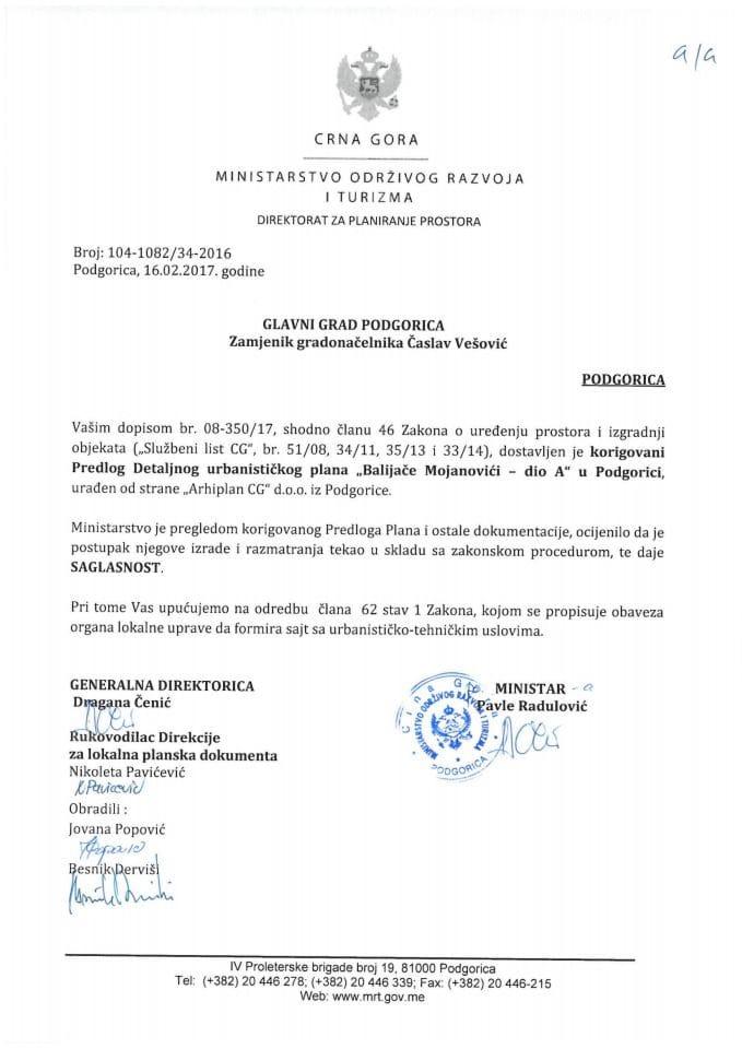 104_1082_34_2016 Saglasnost na Predlog DUP-a Balijače Mojanovići-dio A, u Podgorici