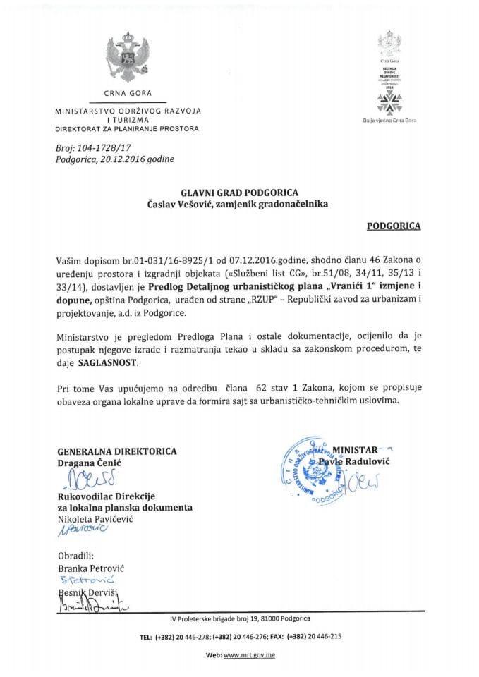 104-1728_17 Saglasnost na Predlog IID DUPa Vranici 1 Podgorica