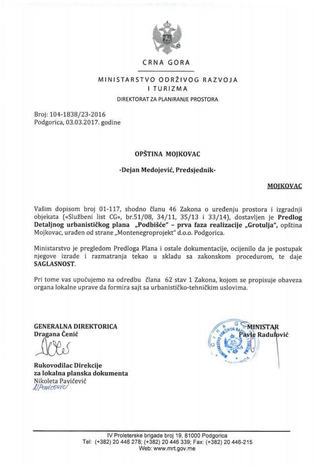 104-1838_23-2016 Saglasnost na Predlog DUPa Podbisce -prva faza realizacije Grotulja, Mojkovac