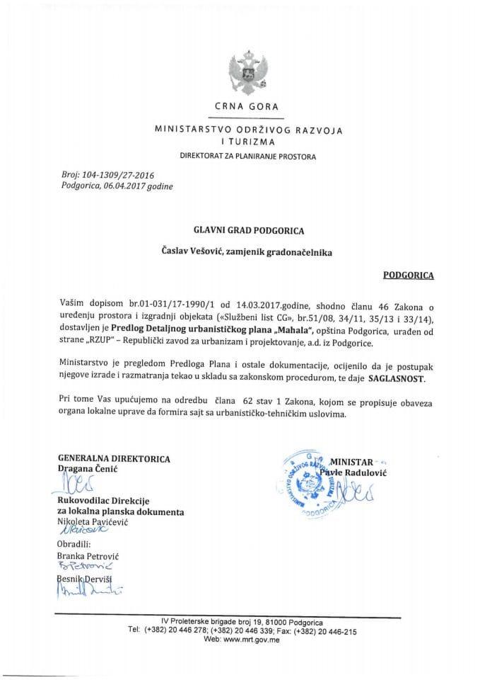 104-1309_27-2016 Saglasnost na Predlog DUPa Mahala, Podgorica