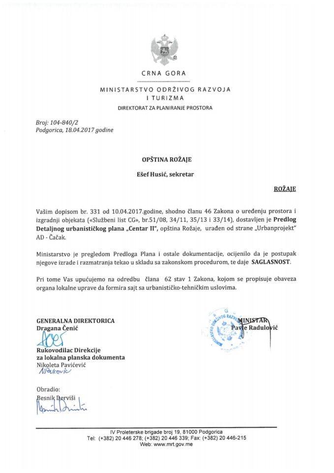 104-840_2 Saglasnost na Predlog Detaljnog urbanistickog plana Centar II Rozaje