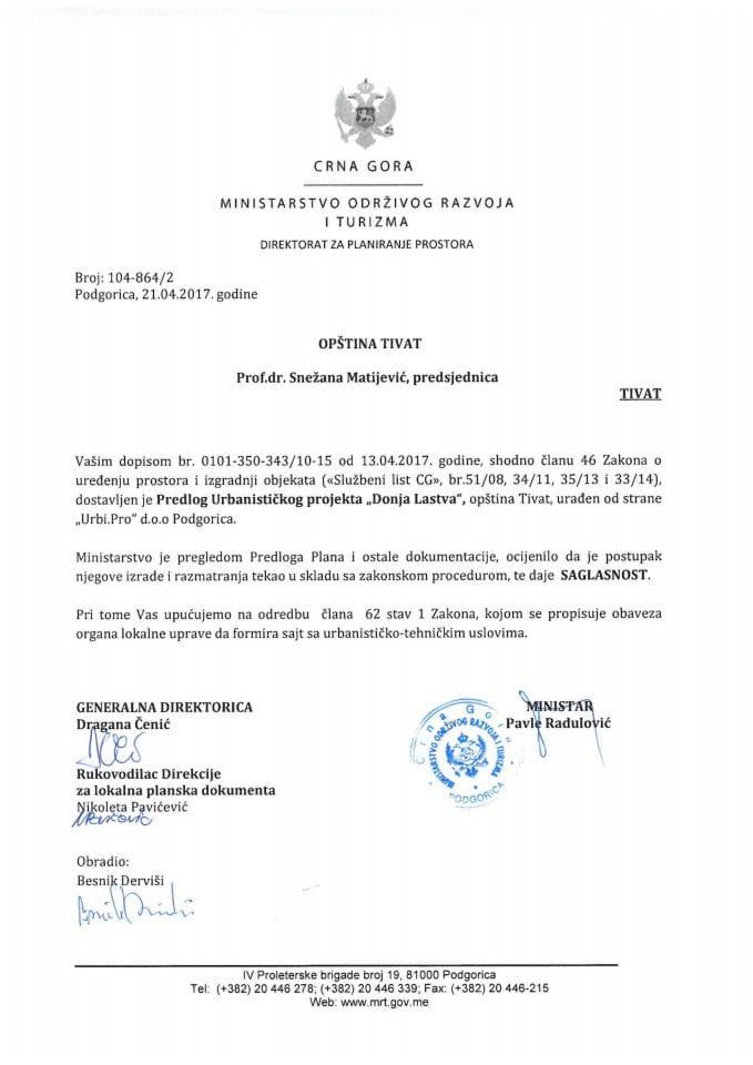 104-864_2 Saglasnost na Predlog Urbanistickog projekta Donja Lastva, Tivat
