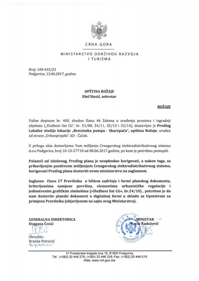 104-655_23 Saglasnost na Predlog LSL Benzinska pumpa-Skarepača, Rožaje