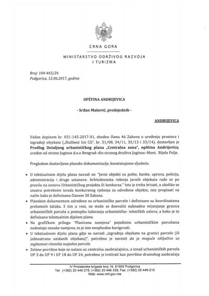 104-465_26  Saglasnost na Predlog DUP-a Centralna zona, Andrijevica