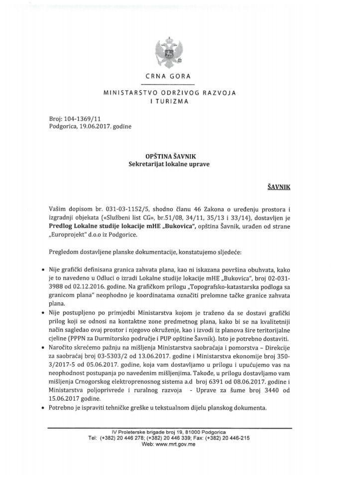 104-1369_11 Saglasnost na Predlog LSL mHE Bukovica, opština Šavnik