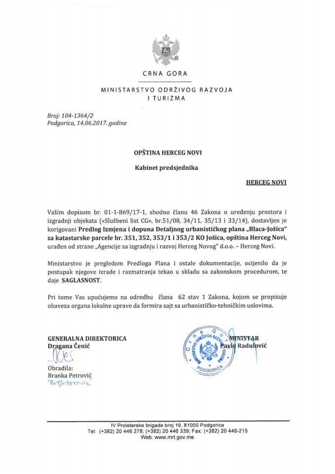 104-1364_2 Saglasnost na Predlog IID DUPa Blacaza kat.parc. 351,352,353-1,353-2 K