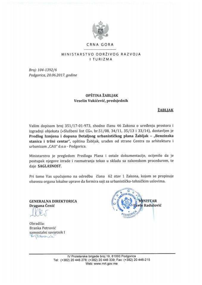104-1392_6 Saglasnost na Predlog IID DUPa Zabljak-Benzinska stanica i tržni centar Zabljak