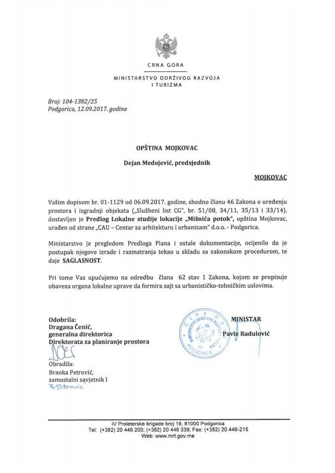 104-1382_25 Saglasnost na Predlog Lokalne studije lokacije Misnica potok, opstina Mojkovac