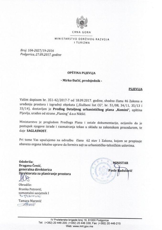 104-2027_19-2016 Saglasnost na Predlog DUP Komini, opstina Pljevlja
