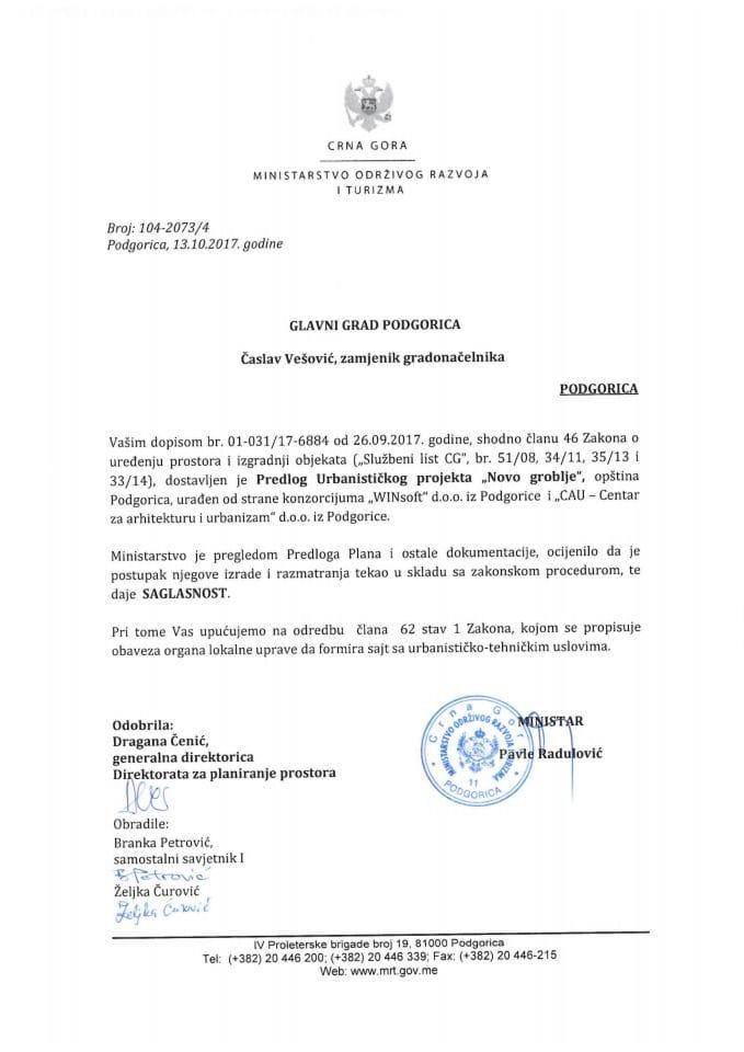104-2073_4 Saglasnost na Predlog UP Novo groblje, Glavni grad Podgorica