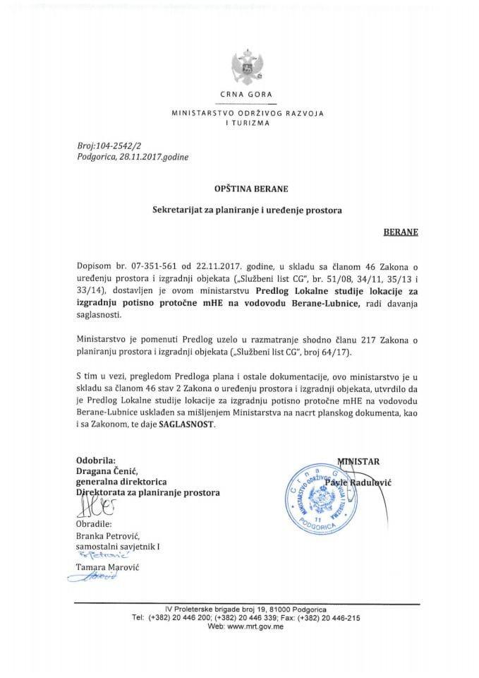 104-2542_2 Saglasnost na Predlog LSL za izgradnju potisno protočne mHE na vodovodu