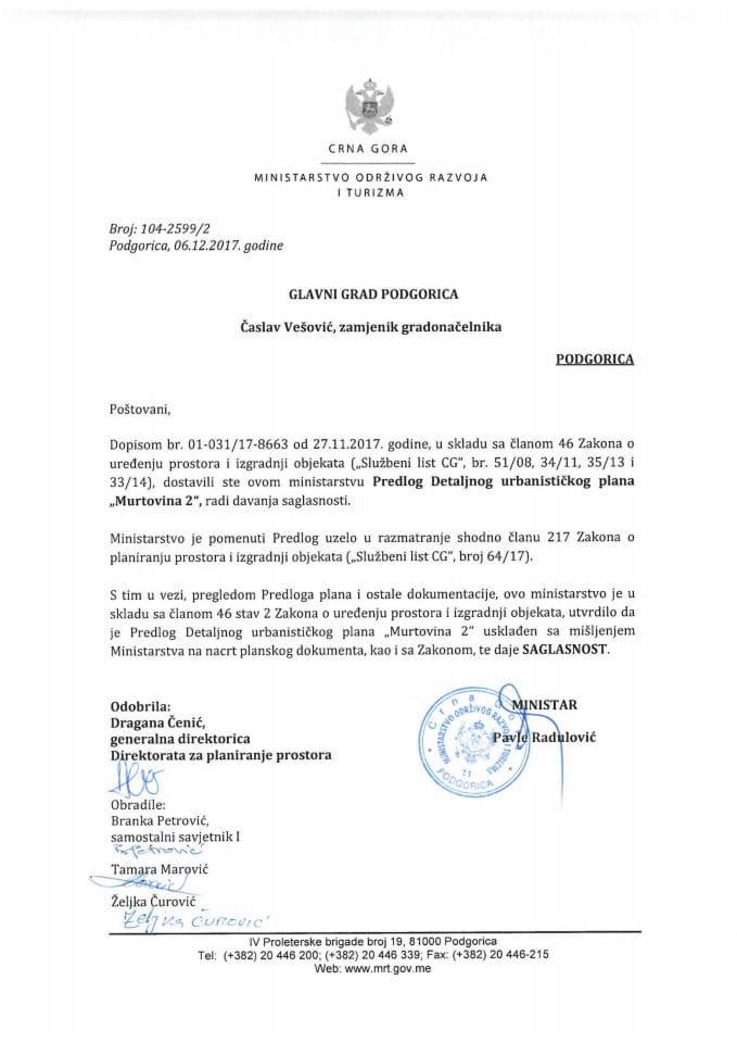 104-2599_2 Saglasnost na DUP Murtovina 2, Glavni grad Podgorica