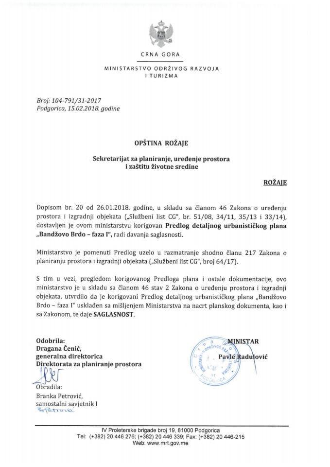 104-791_31-2017 Saglasnost na korigovani Predlog DUP Bandzovo Brdo-faza I, opstina Rožaje