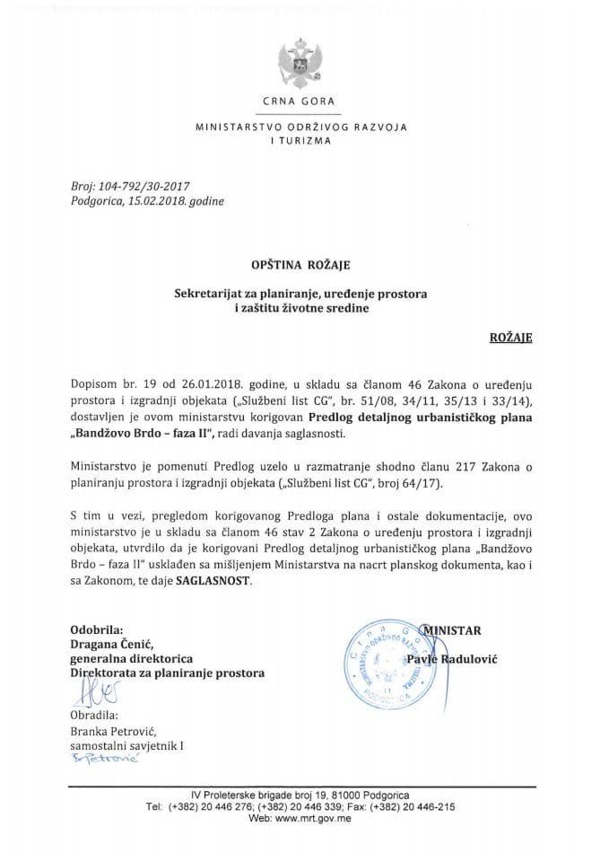 104-792_30-2017 Saglasnost na korigovani Predlog DUP Bandzovo Brdo-faza II, opstina Rožaje