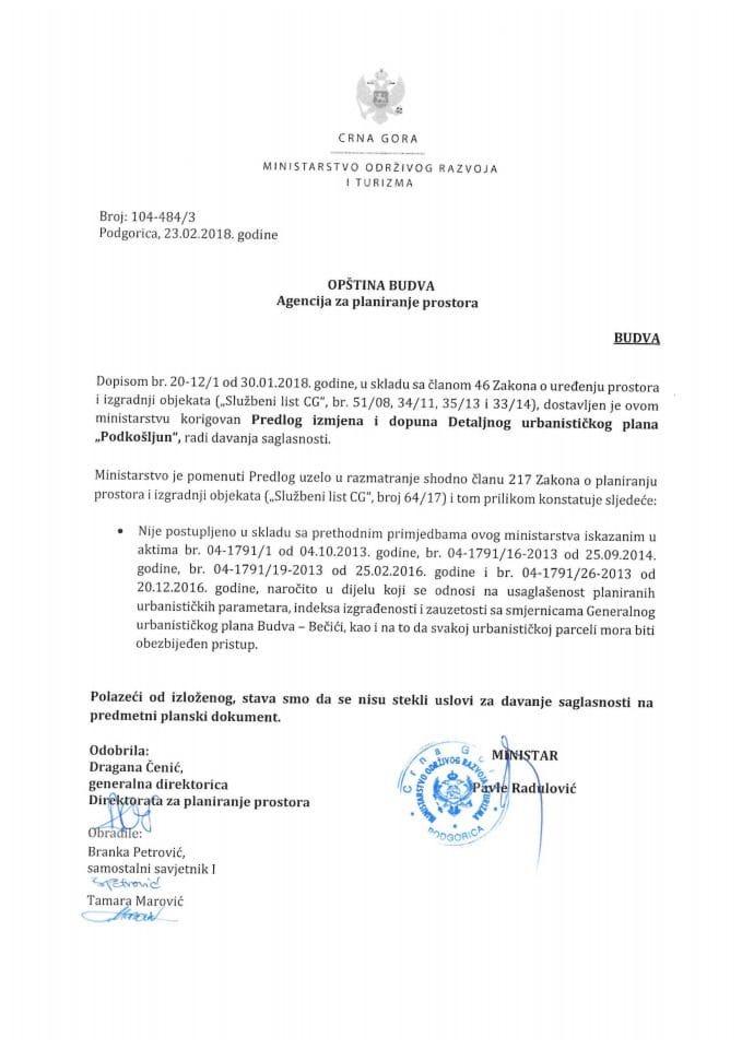 104-484_3 Korigovan Predlog IID DUP Podkošljun, opstina Budva