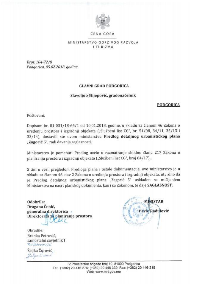 104-72_8 Saglasnost na Predlog DUP Zagorič 5, Glavni grad Podgorica