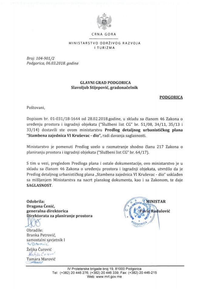 104-901_2 Saglasnost na Predlog DUP Stambena zajednica VI Kruševac-dio,Glavni grad Podgorica
