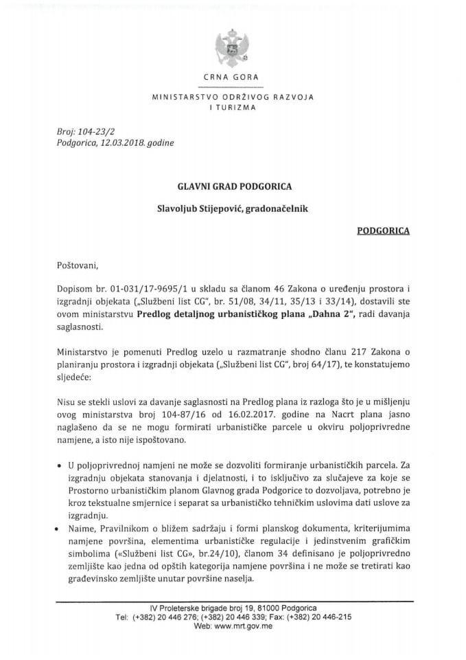 104-23_2 Predlog DUP Dahna 2, Glavni grad Podgorica