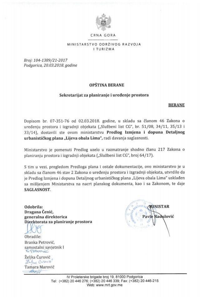 104-1389_21-2017 Saglasnost na Predlog Izmjena i dopuna DUP Lijeva obala Lima, Opština Berane