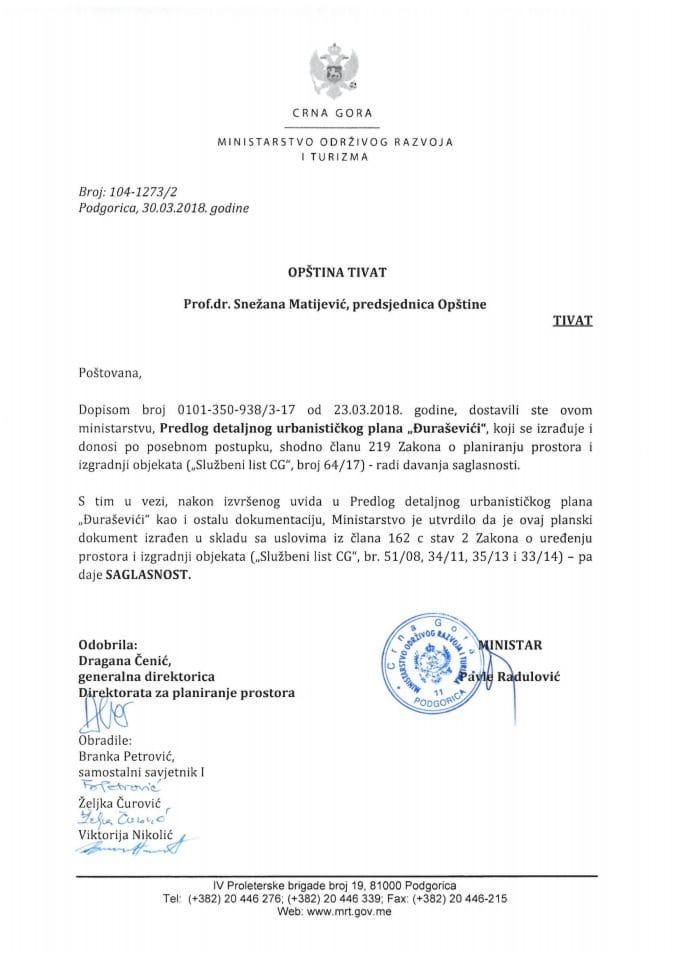 104-1273_2 Saglasnost na Predlog DUP Đuraševići, Opstina Tivat