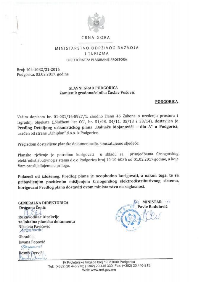 104-1082_31-2016 Predlog DUPa Balijace Mojanovici - dio A, Podgorica