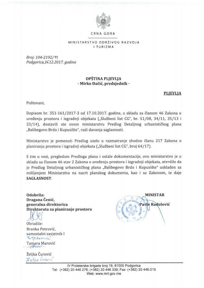 104-2192_11 Saglasnost na Predlog DUP Balibegovo Brdo i Kupusište, opština Pljevlja