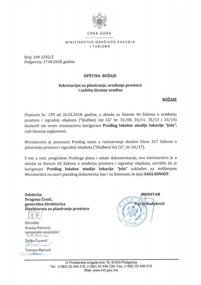 104-1292_2 Saglasnost na Predlog LSL Jela, Opština Rožaje