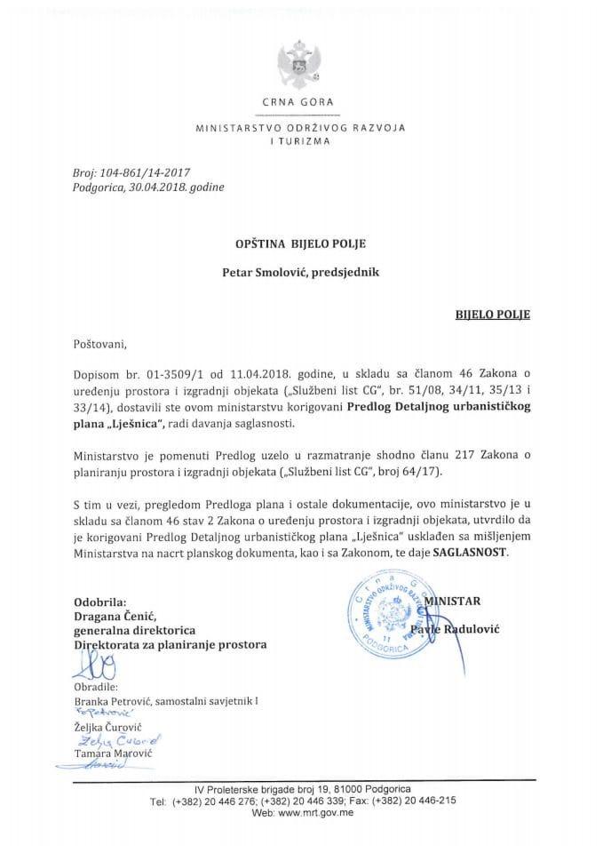 104-861_14-2017 Saglasnost na korigovani Predlog DUP Lješnica, Opština Bijelo Polje