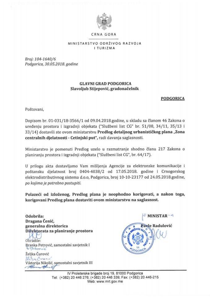 104-1640_6 Predlog DUP Zona centralnih djelatnosti-Cetinjski put, Glavni grad Podgorica