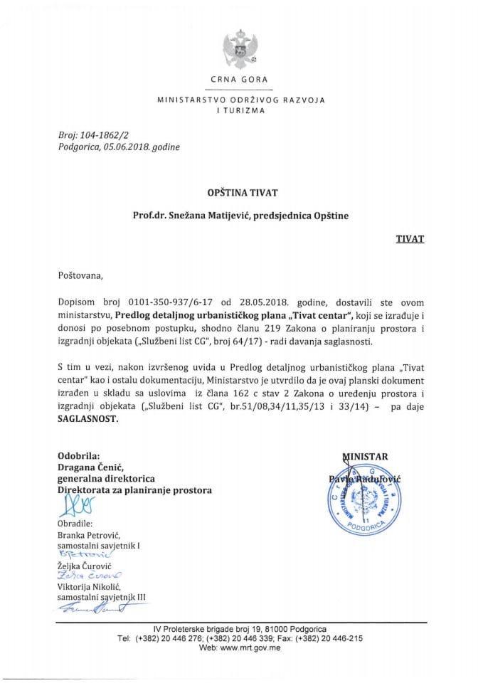 104-1862_2 Saglasnost na Predlog DUP Tivat centar, Opština Tivat