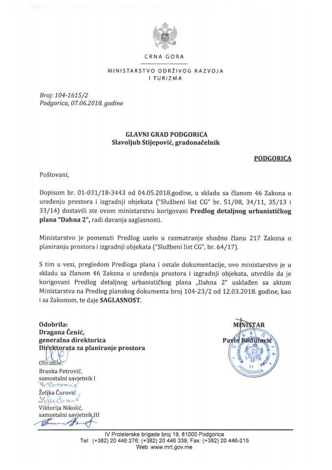 104-1615_2 Saglasnost na korigovani Predlog DUP Dahna 2, Glavni grad Podgorica