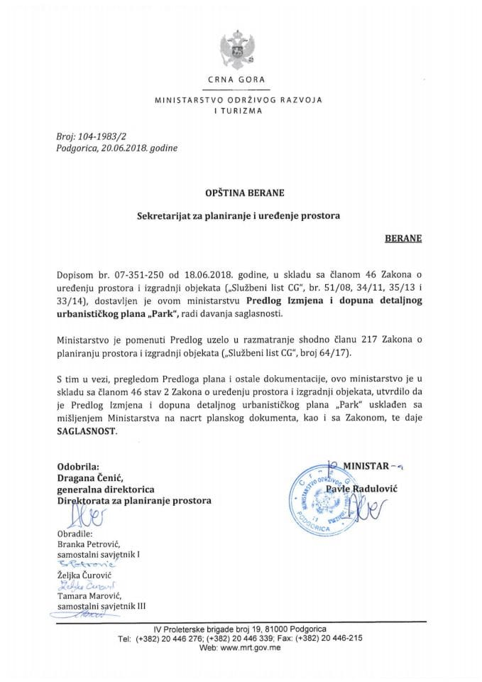 104-1983_2 Saglasnost na Predlog IID DUP-a Park, Opština Berane