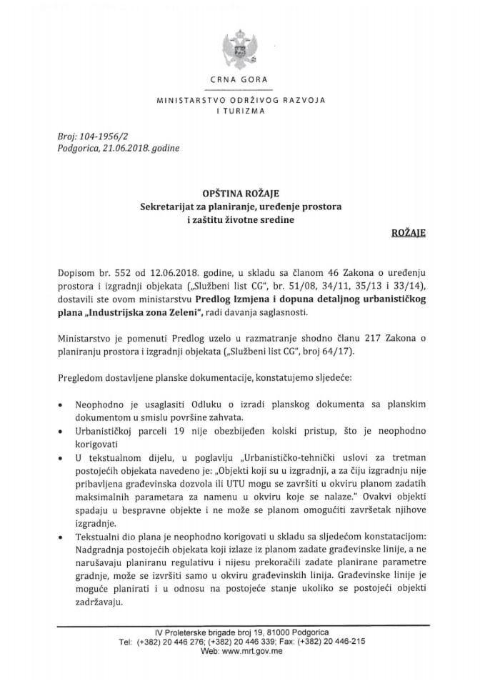 104-1956_2 Predlog IID DUP-a Industrijska zona Zeleni, Opština Rožaje