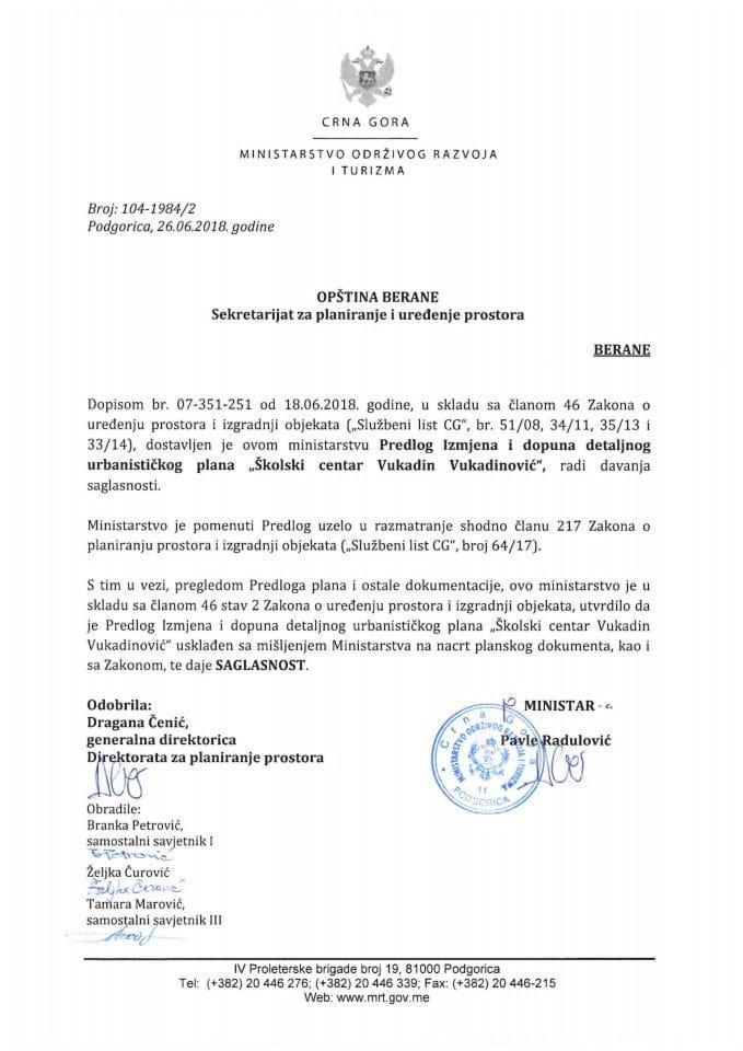 104-1984_2 Saglasnost na Predlog IID DUP-a Školski centar Vukadin Vukadinović, Opština Berane