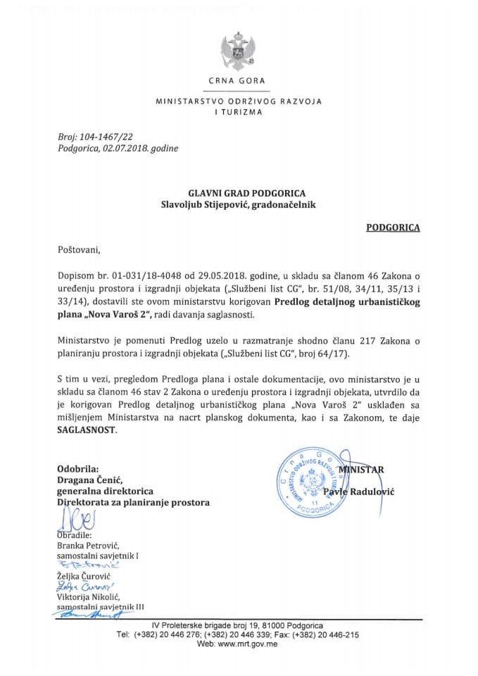 104-1467_22 Saglasnost na korigovani Predlog DUP Nova Varoš 2, Glavni grad Podgorica
