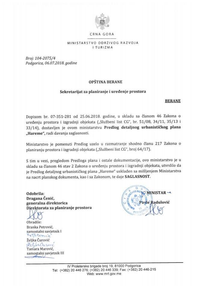 104-2075_4 Saglasnost na Predlog DUP Hareme, Opština Berane