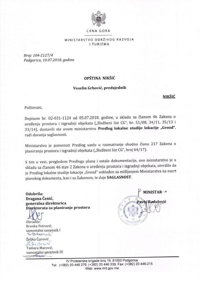 104_2127_4 Saglasnost na Predlog LSL Gvozd opstina Niksic