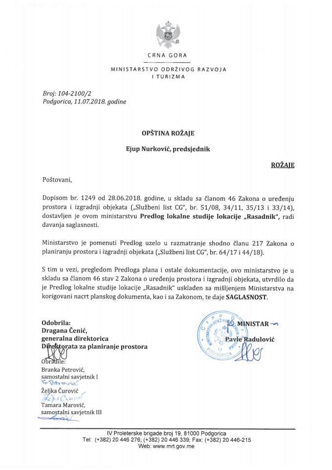 104-2100_2 Saglasnost na Predlog LSL Rasadnik, Opština Rožaje