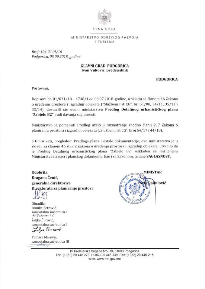 104-2114_10 Saglasnost na Predlog DUP-a Zabjelo B2, Glavni grad Podgorica
