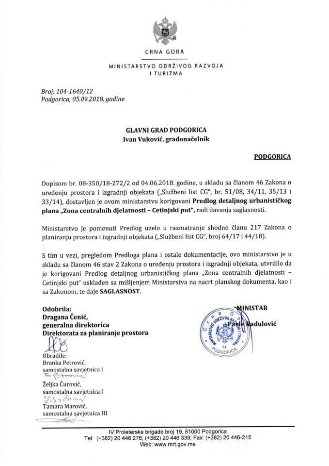 104-1640_12 Saglasnost na korigovani Predlog DUP Zona centralnih djelatnosti-Cetinjski put